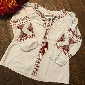 Denim Aztec Patterned Top